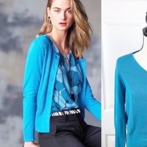 Cabi turquoise blue rubbed cardigan small 3169